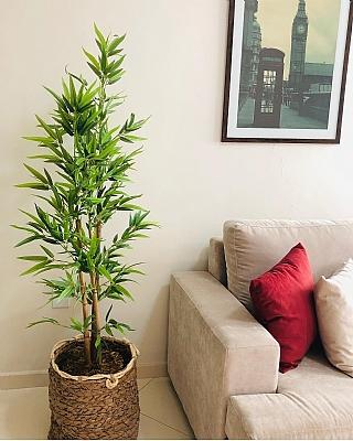 Hasır Saksıda 110 cm boyunda Yapay Bambu Ağacı
